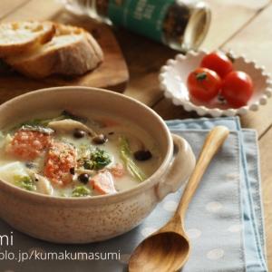 レンジ活用!白菜と鮭のクリームスープ