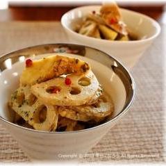 蓮根とサツマイモのスパイスマスタードサラダ
