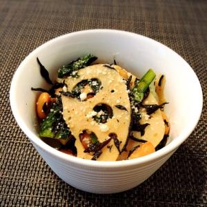 和洋風☆小松菜と蓮根とひじきの粉チーマヨサラダ