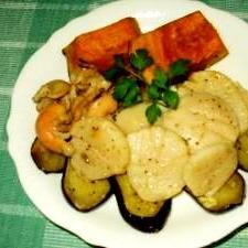 秋の野菜とホタテのソテー
