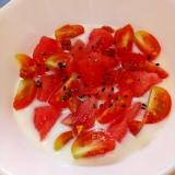 ベジスイーツ☆スイカとトマトのヨーグルト♪