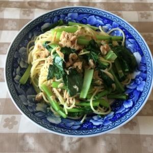 シーチキンと小松菜のかんたんパスタ