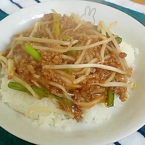 にんにくの芽ともやしとひき肉の中華あんかけ&丼