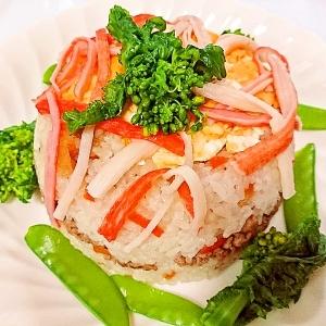 包丁いらず、簡単お肉たっぷりちらし寿司ケーキ♪