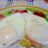 レンジで簡単朝ごはん♪アスパラベーコンエッグ
