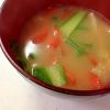 人参と小松菜と油揚げの味噌汁