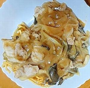 豚肉とヒラタケと玉ねぎの皿うどん(ショウガ風味)