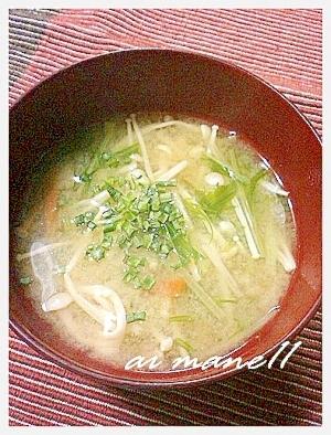 水菜とえのきのお味噌汁