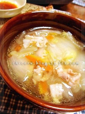 圧力鍋で作る、豚バラと白菜の和風スープ
