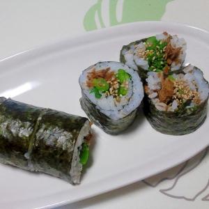 魚の甘煮と菜の花の巻き寿司++