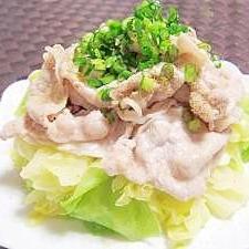 超簡単☆ぽん酢で食す☆茹で豚とキャベツ☆