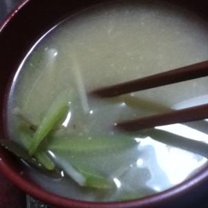 冬瓜の皮とゴボウの炒め味噌汁