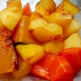 ジャガイモとカボチャと人参のピリ辛炒め煮