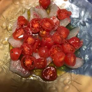 ミニトマトたっぷり!鯛のカルパッチョ