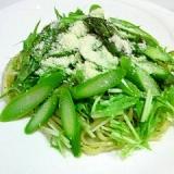 アスパラと水菜の冷製パスタ