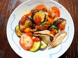 夏野菜炒めのチーズのせイタリアン風
