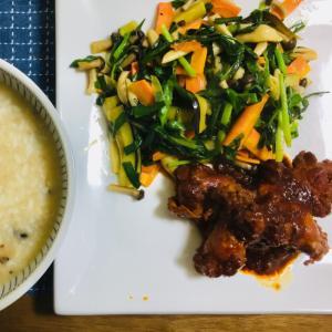 野菜のごま油炒めと、中華粥風おじや