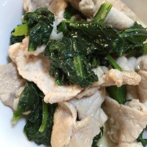 豚薄切り肉と小松菜の甘辛炒め