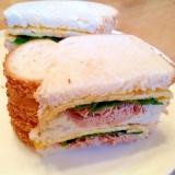 ツナマヨと大葉と薄焼き卵のサンドイッチ