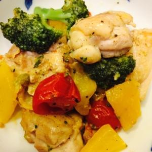 シンプル!鳥肉と野菜のフライパン焼き
