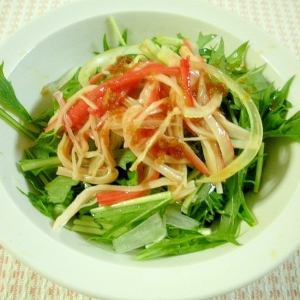 ☆水菜とスライスオニオンのさっぱりサラダ☆
