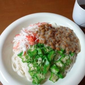 ネバネバ〜納豆とオクラのぶっかけ素麺