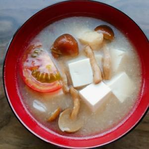 豆腐となめことトマトと油揚げの味噌汁
