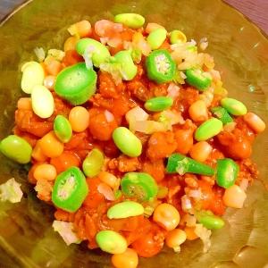 夏野菜の冷製ダルダル鶏ささみキーマカレー