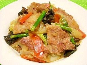 豚軟骨と野菜の中華炒め