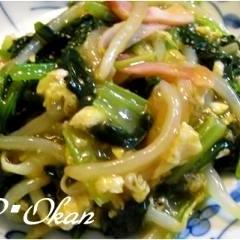 小松菜とモヤシのハム、卵炒め