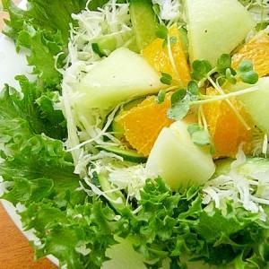 緑いっぱいのフルーツサラダ♪(メロン&オレンジ他)