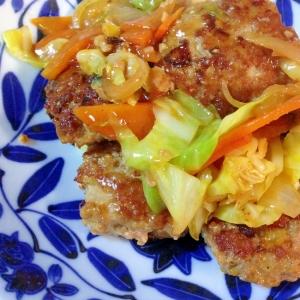 豚肉団子とキャベツのピリ辛味噌炒め♪回鍋肉風?