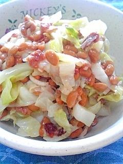 納豆の食べ方-キャベツ&梅ミョウガ♪