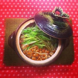 水菜がアクセント★ツナとなめこのスープ