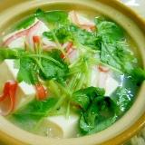 絹豆腐とカニカマ、三つ葉のあんかけ