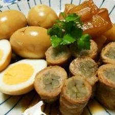 豚バラ巻いてごぼうの煮物