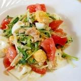 水菜・ゆで卵・トマト・ツナの和風サラダ
