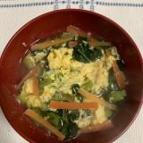 小松菜のかきたま味噌汁