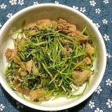 豆苗と鶏皮の炒め物