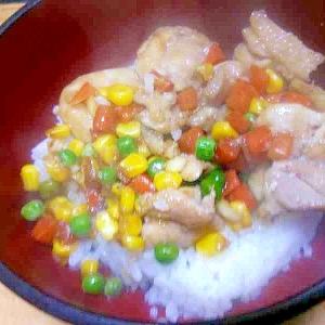 鶏もも丼/味醂醤油味・ミックスベジタブル