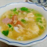 セロリとウインナーの卵スープ