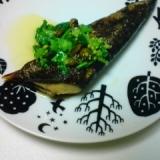 秋刀魚の菜の花オリーブソースかけ