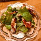 サラダ菜とささみのパプリカ炒めのサラダ