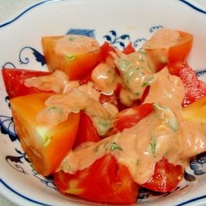 赤×オレンジトマトのバジル風味オーロラサラダ