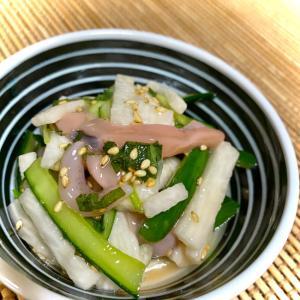 夕飯にササッと一品♪長芋ときゅうりの簡単塩辛和え