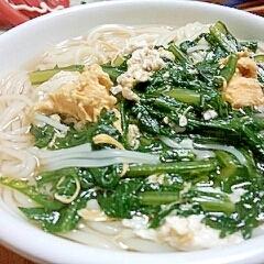 夜食におススメ☆春菊のかきたま煮麺