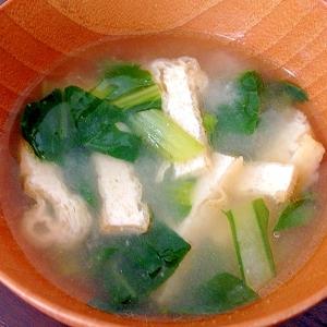 小松菜と油揚げのお味噌汁