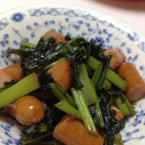 カブの葉とウインナーの炒め物