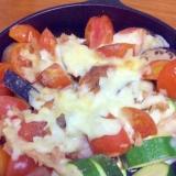 なすとズッキーニとトマトのツナチーズ焼き