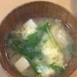 水菜たっぷり!たまごでふわふわ味噌汁♪